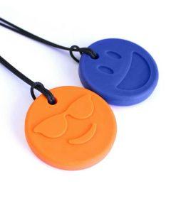 ark-bijtketting-smiley-face-oranje-blauw