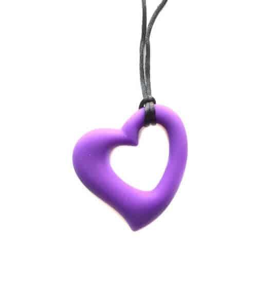 bijtketting hart donker paars
