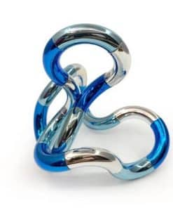 Tangle palm metallic blauw, zilver