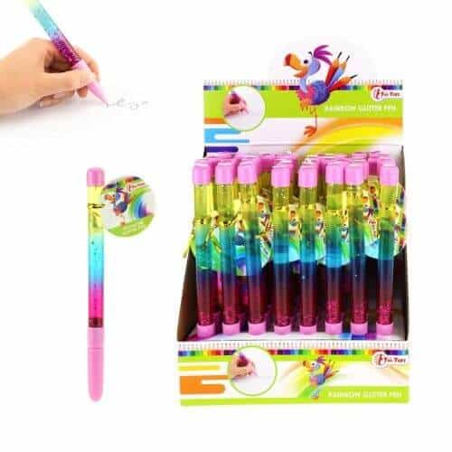 Regenboog glitter pen
